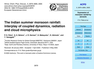 The Indian Summer Monsoon Rainfall: Inte... by Patra, P. K.
