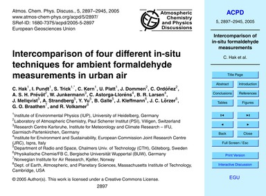 Intercomparison of Four Different In-sit... by Hak, C.