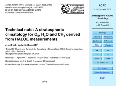 Technical Note: a Stratospheric Climatol... by Grooß, J.-u.