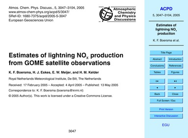 Estimates of Lightning NoX Production fr... by Boersma, K. F.