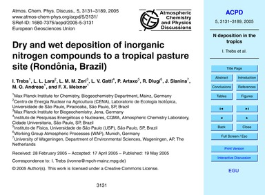 Dry and Wet Deposition of Inorganic Nitr... by Trebs, I.