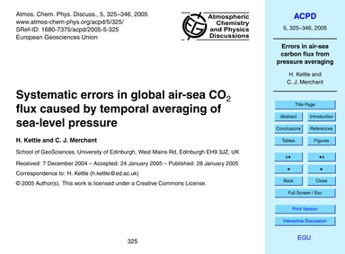 Systematic Errors in Global Air-sea Co2 ... by Kettle, H.