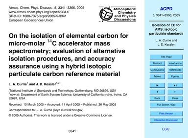 On the Isolation of Elemental Carbon for... by Currie, L. A.