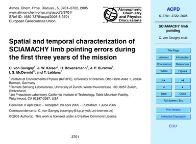 Spatial and Temporal Characterization of... by Von Savigny, C.
