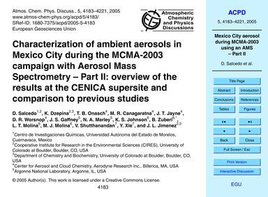 Characterization of Ambient Aerosols in ... by Salcedo, D.