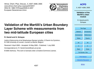 Validation of the Martilli's Urban Bound... by Hamdi, R.