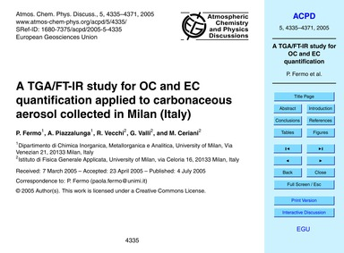 A Tga/Ft-ir Study for Oc and Ec Quantifi... by Fermo, P.