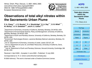 Observations of Total Alkyl Nitrates Wit... by Cleary, P. A.