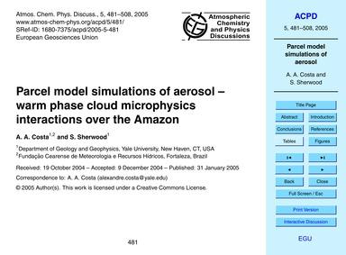 Parcel Model Simulations of Aerosol – Wa... by Costa, A. A.