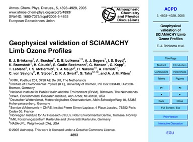 Geophysical Validation of Sciamachy Limb... by Brinksma, E. J.