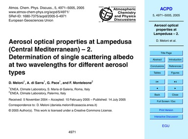 Aerosol Optical Properties at Lampedusa ... by Meloni, D.