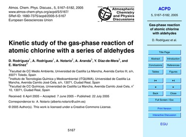 Kinetic Study of the Gas-phase Reaction ... by Rodríguez, D.