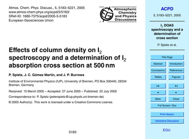 Effects of Column Density on I2 Spectros... by Spietz, P.