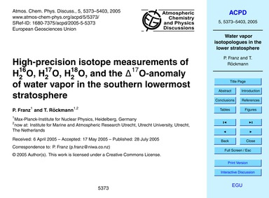 High-precision Isotope Measurements of H... by Franz, P.