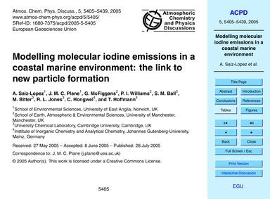 Modelling Molecular Iodine Emissions in ... by Saiz-lopez, A.