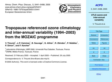 Tropopause Referenced Ozone Climatology ... by Thouret, V.