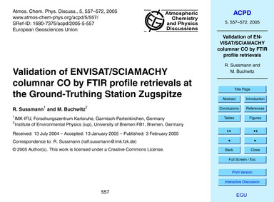 Validation of Envisat/Sciamachy Columnar... by Sussmann, R.