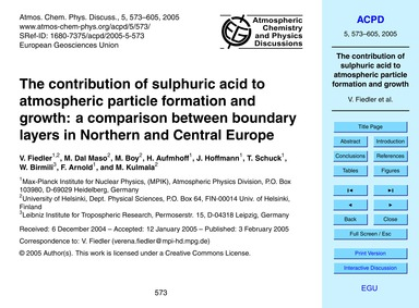 The Contribution of Sulphuric Acid to At... by Fiedler, V.