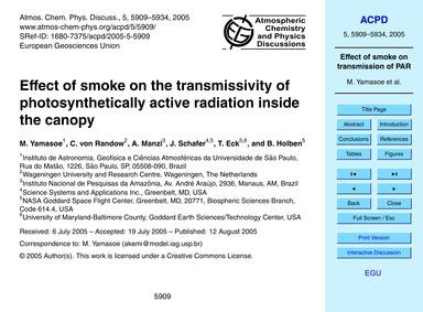 Effect of Smoke on the Transmissivity of... by Yamasoe, M.