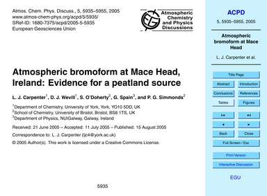 Atmospheric Bromoform at MacE Head, Irel... by Carpenter, L. J.