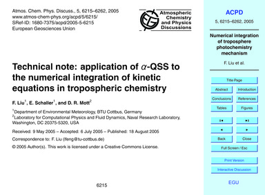 Technical Note: Application of Α-qss to ... by Liu, F.