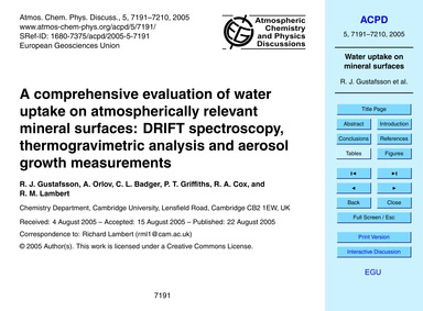 A Comprehensive Evaluation of Water Upta... by Gustafsson, R. J.