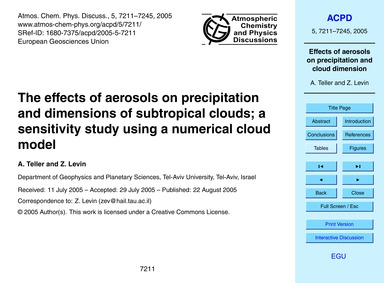 The Effects of Aerosols on Precipitation... by Teller, A.