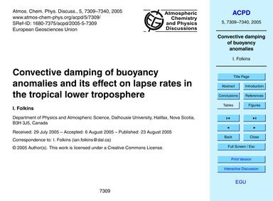 Convective Damping of Buoyancy Anomalies... by Folkins, I.