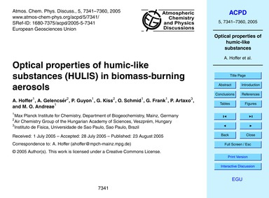 Optical Properties of Humic-like Substan... by Hoffer, A.