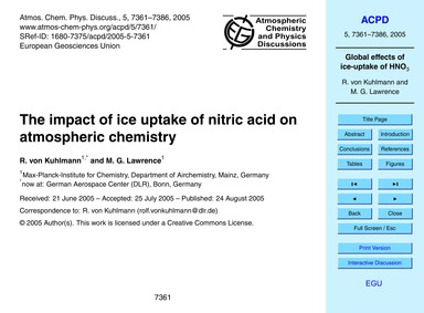 The Impact of Ice Uptake of Nitric Acid ... by Von Kuhlmann, R.