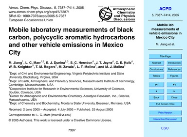 Mobile Laboratory Measurements of Black ... by Jiang, M.