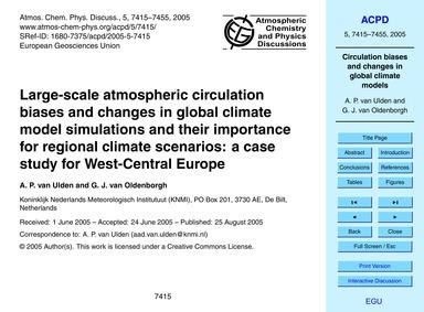 Large-scale Atmospheric Circulation Bias... by Van Ulden, A. P.