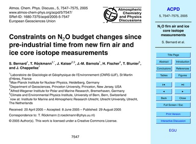 Constraints on N2O Budget Changes Since ... by Bernard, S.