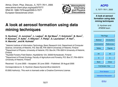 A Look at Aerosol Formation Using Data M... by Hyvönen, S.