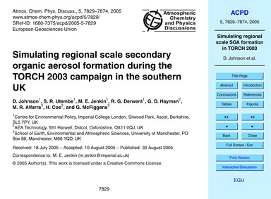 Simulating Regional Scale Secondary Orga... by Johnson, D.