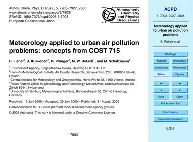 Meteorology Applied to Urban Air Polluti... by Fisher, P.