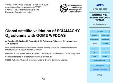 Global Satellite Validation of Sciamachy... by Bracher, A.