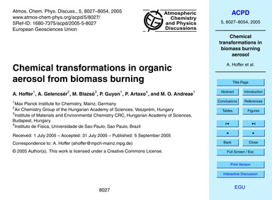 Chemical Transformations in Organic Aero... by Hoffer, A.