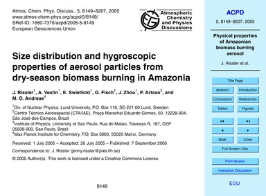 Size Distribution and Hygroscopic Proper... by Rissler, J.