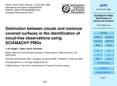 Distinction Between Clouds and Ice/Snow ... by Krijger, J. M.
