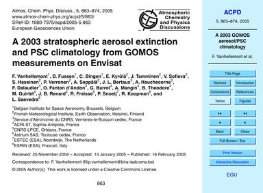A 2003 Stratospheric Aerosol Extinction ... by Vanhellemont, F.