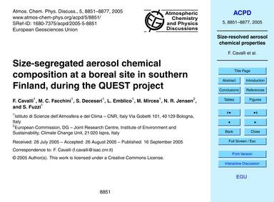 Size-segregated Aerosol Chemical Composi... by Cavalli, F.