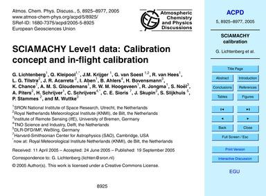 Sciamachy Level1 Data: Calibration Conce... by Lichtenberg, G.