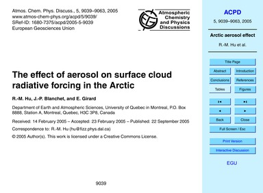 The Effect of Aerosol on Surface Cloud R... by Hu, R.-m.