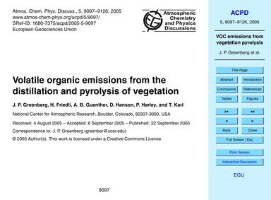 Volatile Organic Emissions from the Dist... by Greenberg, J. P.