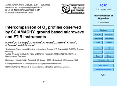 Intercomparison of O3 Profiles Observed ... by Palm, M.