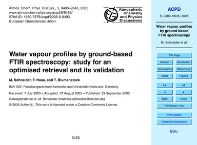 Water Vapour Profiles by Ground-based Ft... by Schneider, M.