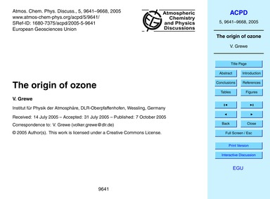 The Origin of Ozone : Volume 5, Issue 5 ... by Grewe, V.