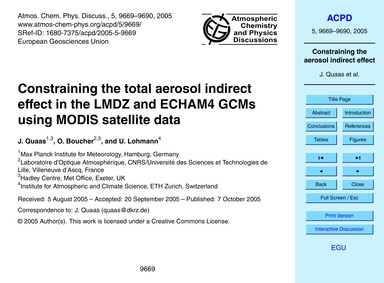 Constraining the Total Aerosol Indirect ... by Quaas, J.