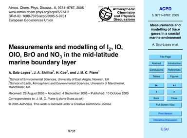 Measurements and Modelling of I2, Io, Oi... by Saiz-lopez, A.